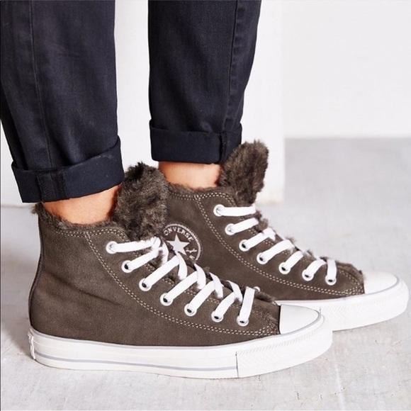 converse faux fur lined